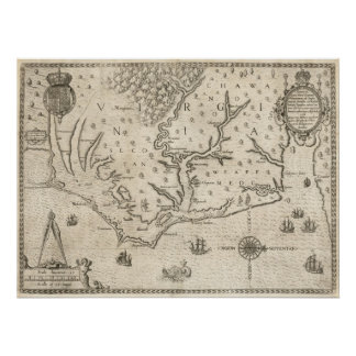 Vintage Map of Coastal North Carolina (1590) Poster