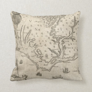 Vintage Map of Coastal North Carolina (1590) Throw Pillow
