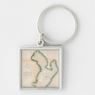 Vintage Map of Coastal Tampa Bay (1855) Silver-Colored Square Keychain