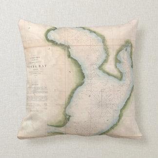 Vintage Map of Coastal Tampa Bay (1855) Throw Pillow