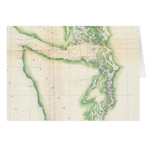 Vintage Map of Coastal Washington State (1857) Card