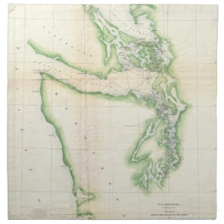 Vintage Map of Coastal Washington State (1857) Cloth Napkins