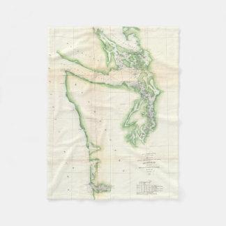 Vintage Map of Coastal Washington State (1857) Fleece Blanket