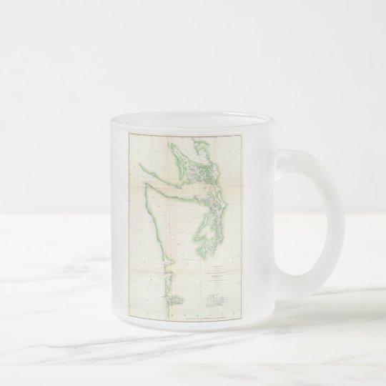 Vintage Map of Coastal Washington State (1857) Frosted Glass Coffee Mug