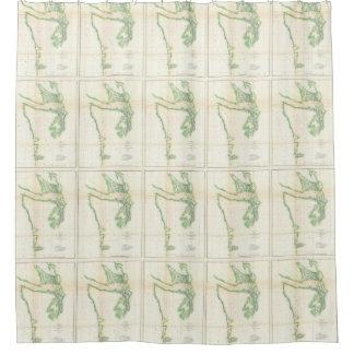 Vintage Map of Coastal Washington State (1857) Shower Curtain