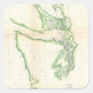 Vintage Map of Coastal Washington State (1857) Square Sticker