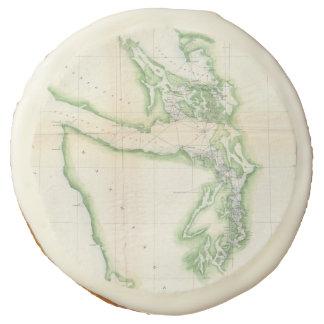 Vintage Map of Coastal Washington State (1857) Sugar Cookie