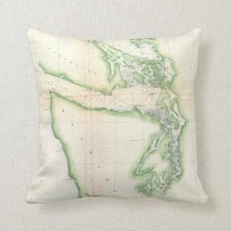 Vintage Map of Coastal Washington State (1857) Throw Pillows