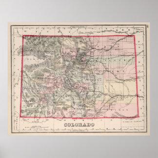 Vintage Map of Colorado (1884) Print