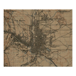 Vintage Map of Colorado Springs CO (1907) Poster