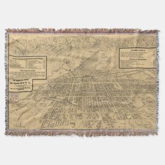 Vintage Map of Colorado Springs CO (1909) Throw Blanket