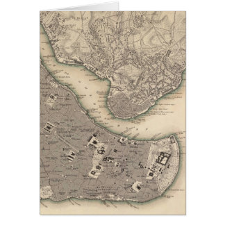 Vintage Map of Constantinople (1840) Card