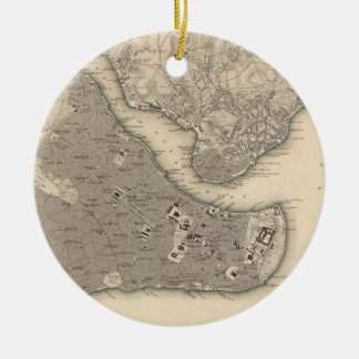 Vintage Map of Constantinople (1840) Ceramic Ornament