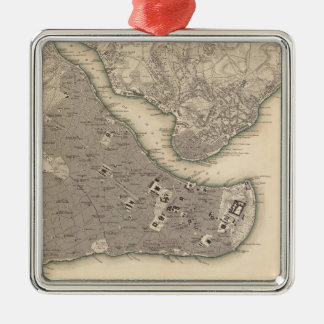 Vintage Map of Constantinople (1840) Metal Ornament
