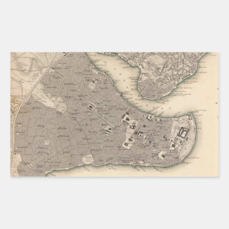 Vintage Map of Constantinople (1840) Rectangular Sticker
