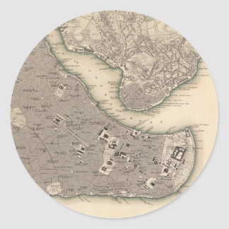 Vintage Map of Constantinople (1840) Round Stickers