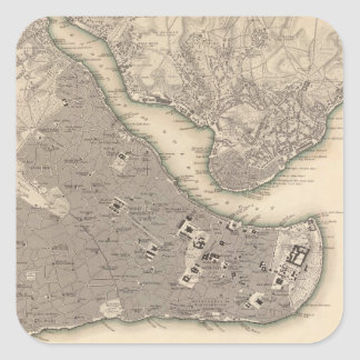 Vintage Map of Constantinople (1840) Square Stickers
