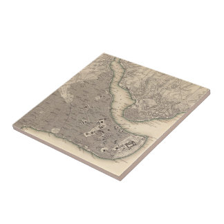 Vintage Map of Constantinople (1840) Ceramic Tiles