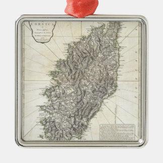 Vintage Map of Corsica (1794) Square Metal Christmas Ornament