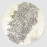 Vintage Map of Corsica (1794) Round Stickers
