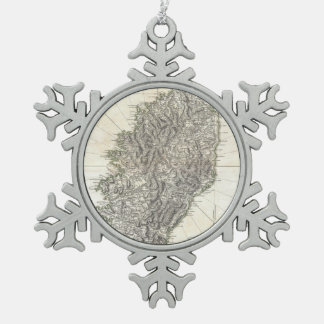 Vintage Map of Corsica (1794) Snowflake Pewter Christmas Ornament