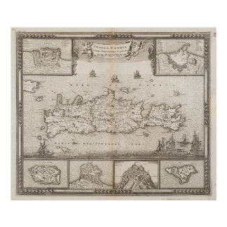 Vintage Map of Crete Greece (1680) Poster