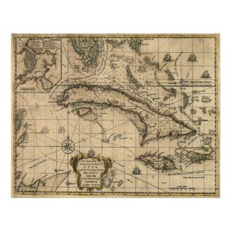 Vintage Map of Cuba (1762) Poster