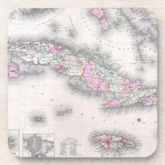 Vintage Map of Cuba (1861) Beverage Coaster