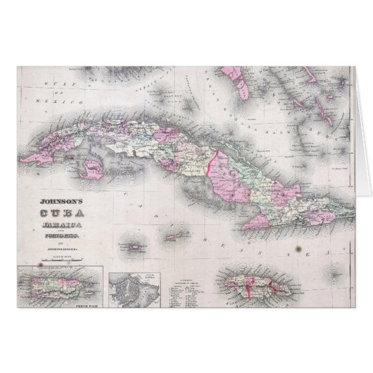 Vintage Map of Cuba (1861) Card