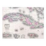 Vintage Map of Cuba (1861) Postcard