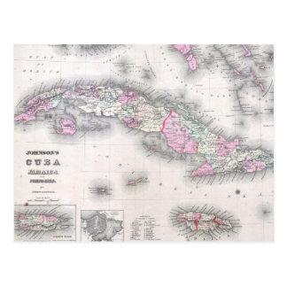 Vintage Map of Cuba (1861) Postcard