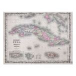 Vintage Map of Cuba (1861) Poster