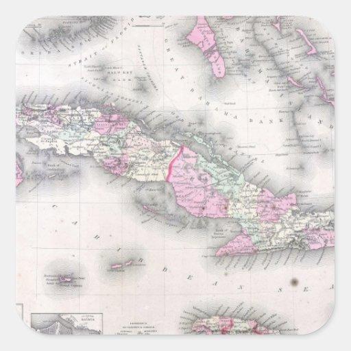 Vintage Map of Cuba (1861) Square Sticker