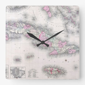 Vintage Map of Cuba (1861) Square Wall Clock