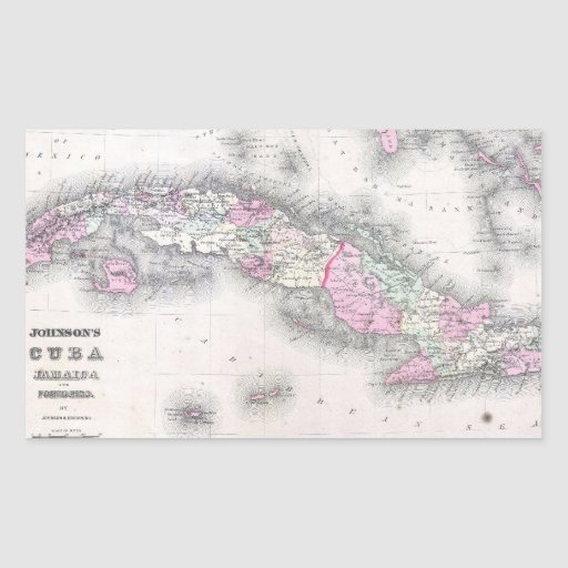 Vintage Map of Cuba (1861) Stickers