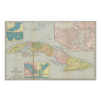 Vintage Map of Cuba (1898) Poster