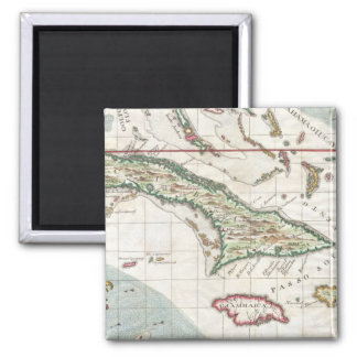Vintage Map of Cuba and Jamaica (1763) 2 Inch Square Magnet