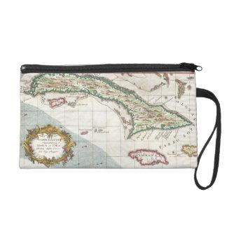 Vintage Map of Cuba and Jamaica 1763 Wristlet Purses