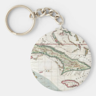 Vintage Map of Cuba and Jamaica (1763) Basic Round Button Keychain