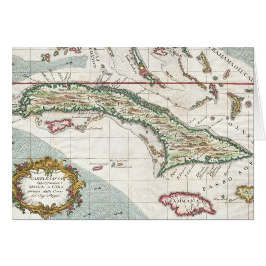 Vintage Map of Cuba and Jamaica (1763) Card