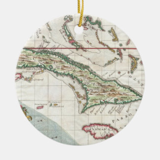 Vintage Map of Cuba and Jamaica (1763) Christmas Tree Ornament
