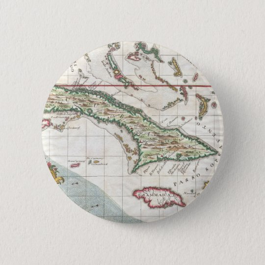 Vintage Map of Cuba and Jamaica (1763) Pinback Button