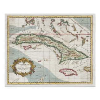 Vintage Map of Cuba and Jamaica (1763) Print