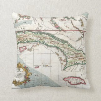 Vintage Map of Cuba and Jamaica (1763) Throw Pillow