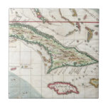 Vintage Map of Cuba and Jamaica (1763) Ceramic Tiles