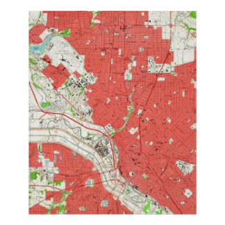 Vintage Map of Dallas Texas (1958) 2 Poster
