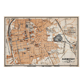 Vintage Map of Darmstadt Germany (1905) Poster