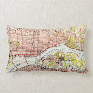 Vintage Map of Davenport Iowa (1953) Lumbar Pillow