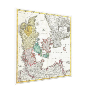Vintage Map of Denmark (1730) Canvas Print