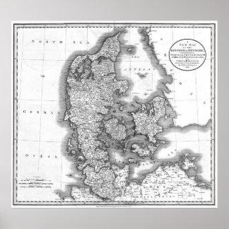 Vintage Map of Denmark (1801) BW Poster